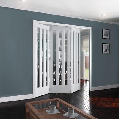 Jeld-Wen Internal White Primed Aston 3L Clear Glazed 3 Door Roomfold 2047 x 2157 x 92mm