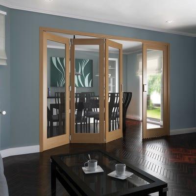 Jeld-Wen Internal Oak Shaker 1L Clear Glazed 4 Door (3+1) Roomfold