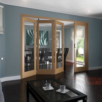 Jeld-Wen Internal Oak Shaker 1L Clear Glazed 4 Door (3+1) Roomfold