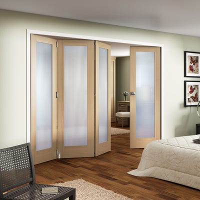 Jeld-Wen Internal Oak Shaker 1L Obscure Glazed 4 Door (3+1) Roomfold
