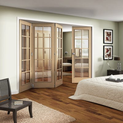 Jeld-Wen Internal Oak Huntingdon 10L Clear Glazed 4 Door (3+1) Roomfold