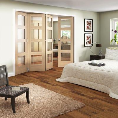 Jeld-Wen Internal Oak Shaker 4L Clear Glazed 4 Door (3+1) Roomfold