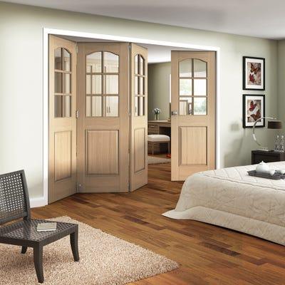 Jeld-Wen Internal Oak Huntingdon 6L Clear Glazed 4 Door (3+1) Roomfold 2047 x 2849 x 92mm