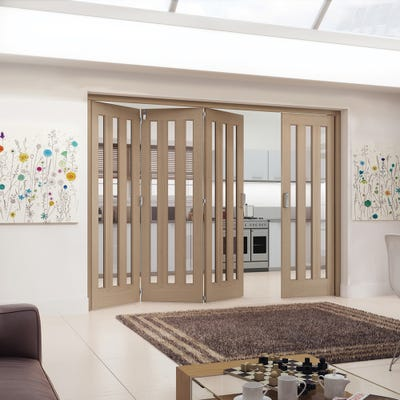 Jeld-Wen Internal Oak Aston 3L Clear Glazed 4 Door (3+1) Roomfold