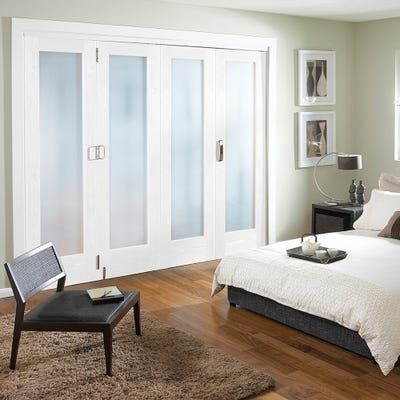 Jeld-Wen White Primed Shaker 1L Obscure Glazed 4 Door (3+1) Roomfold