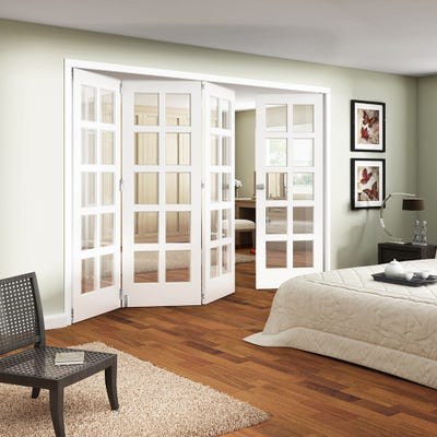 Jeld-Wen White Primed Shaker 10L Clear Glazed 4 Door (3+1) Roomfold