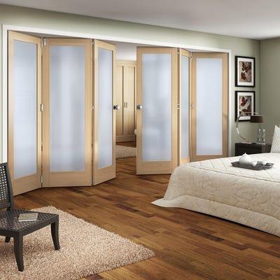 Jeld-Wen Internal Oak Shaker 1L Obscure Glazed 6 Door (3+3) Roomfold
