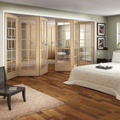 Jeld-Wen Internal Oak Huntingdon 10L Clear Glazed 6 Door (3+3) Roomfold
