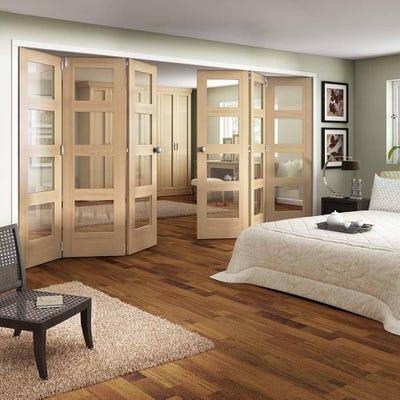 Jeld-Wen Internal Oak Shaker 4L Clear Glazed 6 Door (3+3) Roomfold