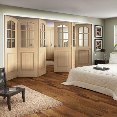 Jeld-Wen Internal Oak Huntingdon 6L Clear Glazed 6 Door (3+3) Roomfold 2047 x 4227 x 92mm