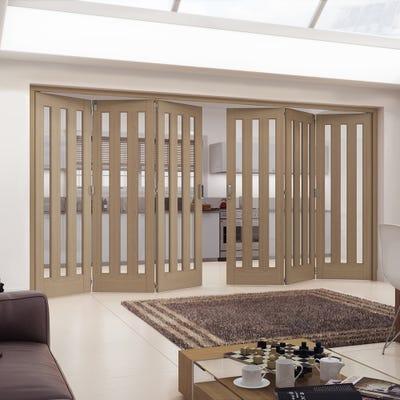 Jeld-Wen Internal Oak Aston 3L Clear Glazed 6 Door (3+3) Roomfold
