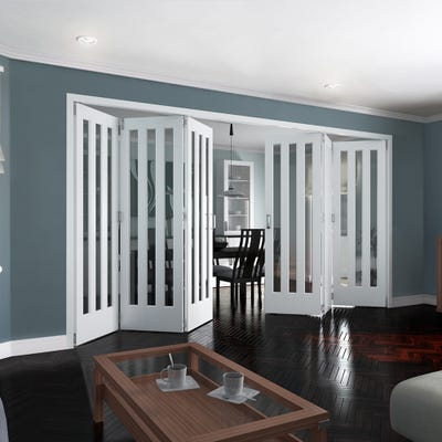 Jeld-Wen Internal White Primed Aston 3L Clear Glazed 6 Door (3+3) Roomfold 2047 x 4227 x 92mm