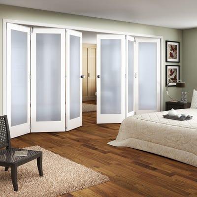 Jeld-Wen White Primed Shaker 1L Obscure Glazed 6 Door (3+3) Roomfold