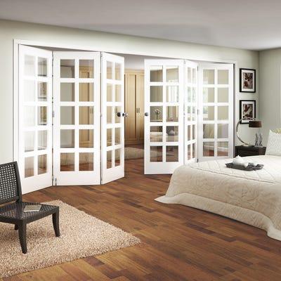 Jeld-Wen White Primed Shaker 10L Clear Glazed 6 Door (3+3) Roomfold