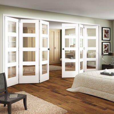 Jeld-Wen Internal White Primed Shaker 4L Clear Glazed 6 Door (3+3) Roomfold