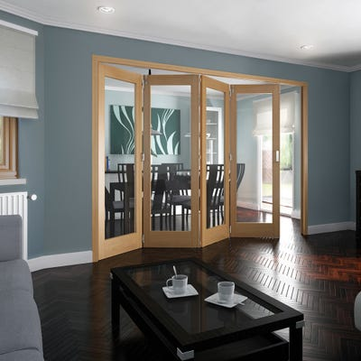Jeld-Wen Internal Oak Shaker 1L Clear Glazed 4 Door Roomfold