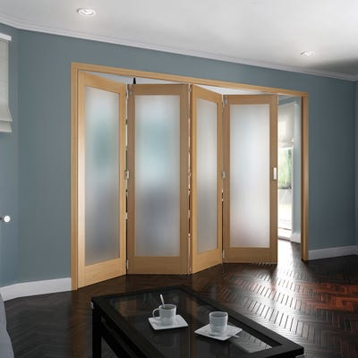 Jeld-Wen Internal Oak Shaker 1L Obscure Glazed 4 Door Roomfold