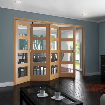 Jeld-Wen Internal Oak Shaker 4L Clear Glazed 4 Door Roomfold