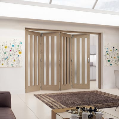 Jeld-Wen Internal Oak Aston 3L Obscure Glazed 4 Door Roomfold 2047 x 2849 x 92mm