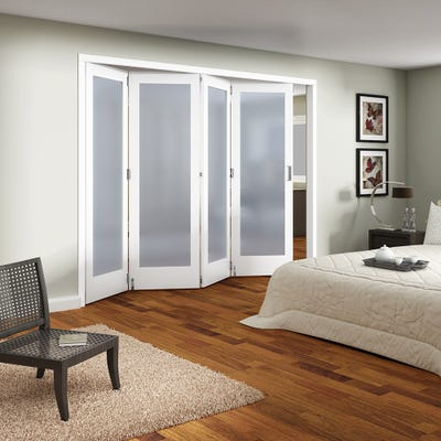 Jeld-Wen Internal White Primed Shaker 1L Obscure Glazed 4 Door Roomfold