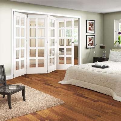 Jeld-Wen Internal White Primed Shaker 10L Clear Glazed 4 Door Roomfold