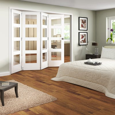 Jeld-Wen Internal White Primed Shaker 4L Clear Glazed 4 Door Roomfold