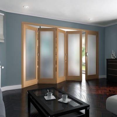 Jeld-Wen Internal Oak Shaker 1L Obscure Glazed 5 Door (4+1) Roomfold