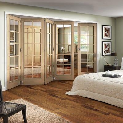 Jeld-Wen Internal Oak Huntingdon 10L Clear Glazed 5 Door (4+1) Roomfold