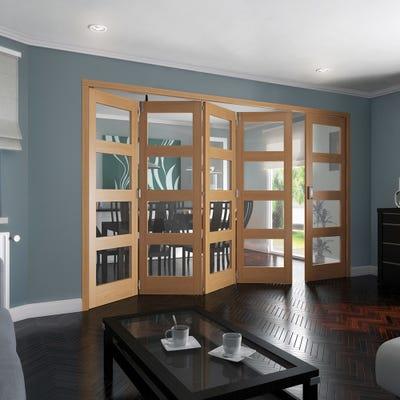 Jeld-Wen Internal Oak Shaker 4L Clear Glazed 5 Door (4+1) Roomfold