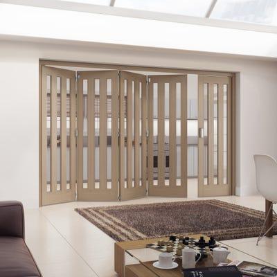 Jeld-Wen Internal Oak Aston 3L Clear Glazed 5 Door (4+1) Roomfold