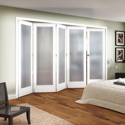 Jeld-Wen White Primed Shaker 1L Obscure Glazed 5 Door (4+1) Roomfold