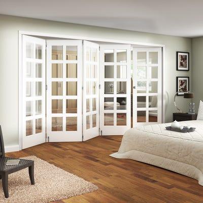 Jeld-Wen White Primed Shaker 10L Clear Glazed 5 Door (4+1) Roomfold