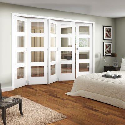 Jeld-Wen Internal White Primed Shaker 4L Clear Glazed 5 Door (4+1) Roomfold
