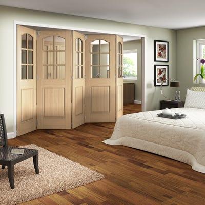 Jeld-Wen Internal Oak Huntingdon 6L Clear Glazed 5 Door Roomfold 2047 x 3538 x 92mm