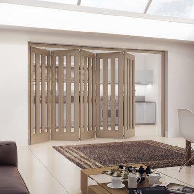 Jeld-Wen Internal Oak Aston 3L Clear Glazed 5 Door Roomfold