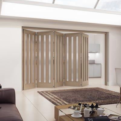 Jeld-Wen Internal Oak Aston 3L Obscure Glazed 5 Door Roomfold 2047 x 3538 x 92mm