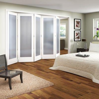 Jeld-Wen Internal White Primed Shaker 1L Obscure Glazed 5 Door Roomfold