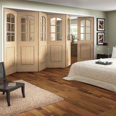 Jeld-Wen Internal Oak Huntingdon 6L Clear Glazed 6 Door (5+1) Roomfold 2047 x 4227 x 92mm