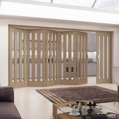 Jeld-Wen Internal Oak Aston 3L Obscure Glazed 6 Door (5+1) Roomfold 2047 x 4227 x 92mm