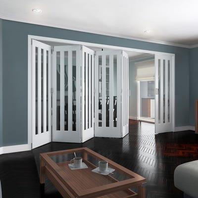 Jeld-Wen Internal White Primed Aston 3L Clear Glazed 6 Door (5+1) Roomfold 2047 x 4227 x 92mm