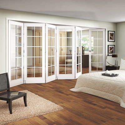 Jeld-Wen White Primed Shaker 10L Clear Glazed 6 Door (5+1) Roomfold