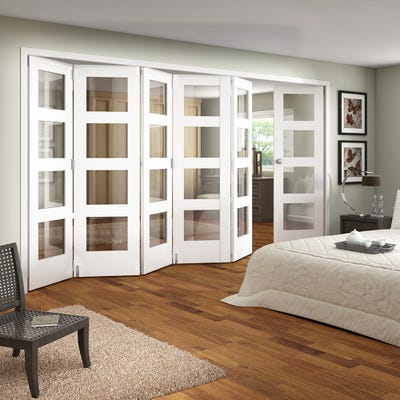 Jeld-Wen Internal White Primed Shaker 4L Clear Glazed 6 Door (5+1) Roomfold