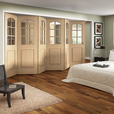 Jeld-Wen Internal Oak Huntingdon 6L Clear Glazed 6 Door Roomfold 2047 x 4227 x 92mm