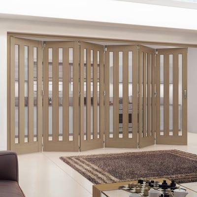 Jeld-Wen Internal Oak Aston 3L Obscure Glazed 6 Door Roomfold 2047 x 4227 x 92mm