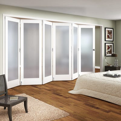 Jeld-Wen Internal White Primed Shaker 1L Obscure Glazed 6 Door Roomfold