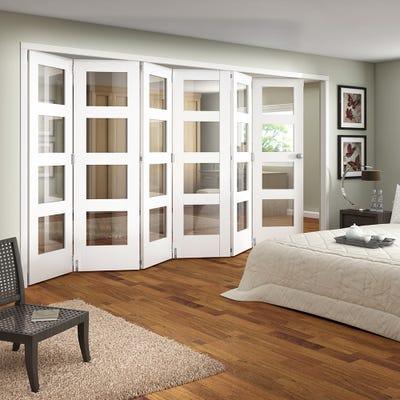 Jeld-Wen Internal White Primed Shaker 4L Clear Glazed 6 Door Roomfold