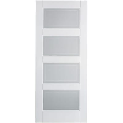 LPD Internal White Primed Contemporary 4L Frosted Glazed Door 2032 x 813 x 35mm