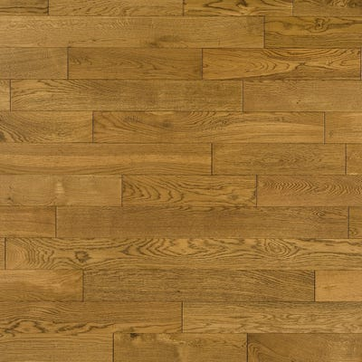 Elka 18 x 130mm Golden Distressed Oak Satin Lacquered Solid Wood Flooring
