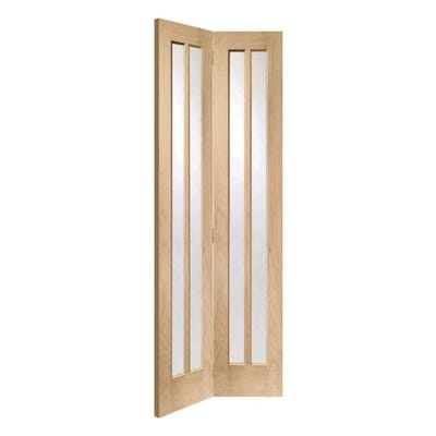 XL Joinery Internal Oak Worcester 2L Clear Glazed Bi-Fold Door 1981 x 762 x 35mm