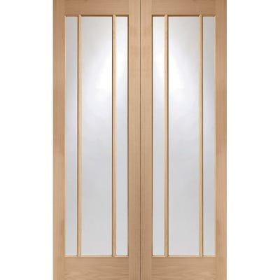 XL Joinery Internal Oak Worcester 3L Clear Glazed Door Pair